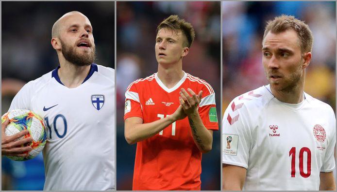 Teemu Pukki, Aleksandr Golovin en Christian Eriksen.