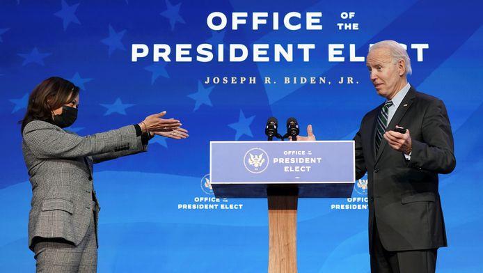 Kamala Harris en Joe Biden: later vandaag zijn zij vicepresident en president van de VS.