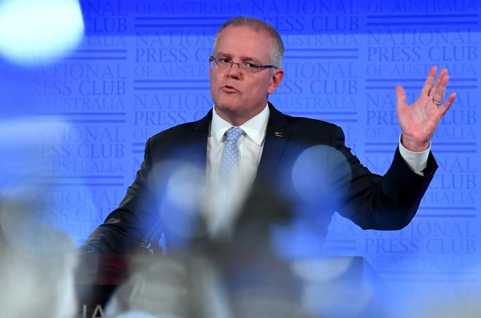 Afzwaaiend premier Scott Morrison tijdens een campagnetoespraak.