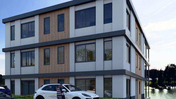Artist impression van het nieuwe appartementencomplex van Emile Ratelband aan de Hulkesteinseweg in Arnhem.