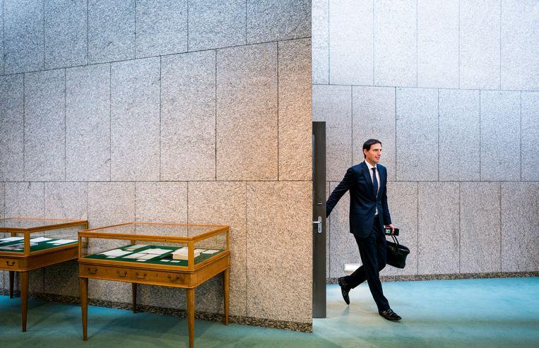 Minister Wopke Hoekstra van Financiën (CDA) tijdens de Algemene Financiële Beschouwingen in de Tweede Kamer.  Beeld Freek van den Bergh / de Volkskrant