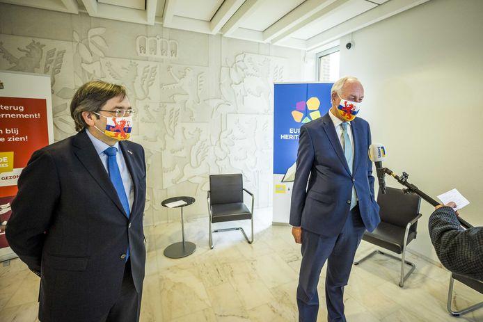 Waarnemend gouverneur in Limburg Johan Remkes (R) en oud-gouverneur Theo Bovens.