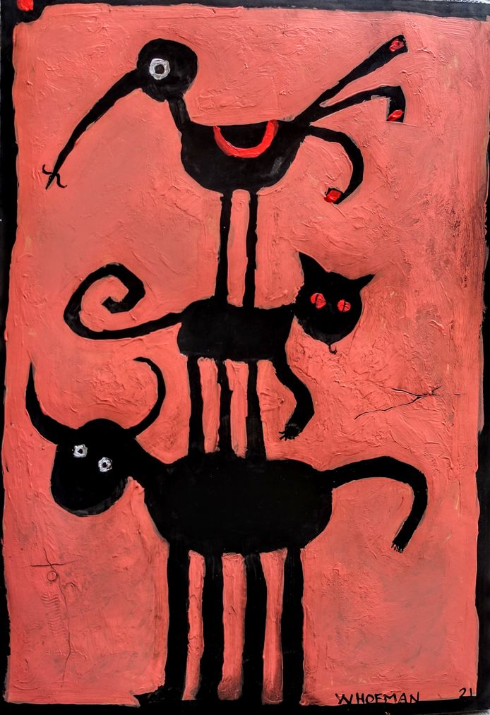 Wim Hofman: illustratie bij rubriek Nieuwe dierenpartij