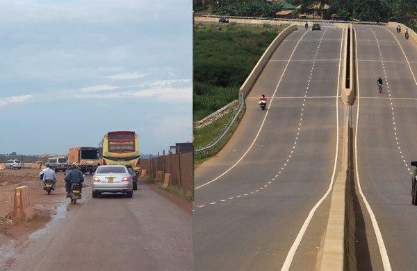 Zoek de verschillen: een weg in Oeganda aangelegd door China of door Europa