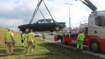 Jaguar oldtimer over de kop op E314