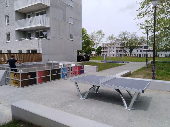 De mobiele sportinfrastructuur werd op het Rodenbachplein in Houtem geplaatst.
