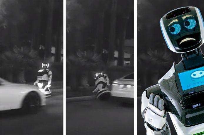 De robot overleefde de hardhandige ontmoeting met de Tesla niet.