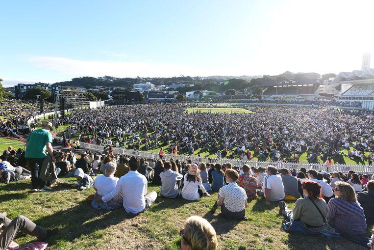 In Wellington werd zondag een wake gehouden voor de slachtoffer van de aanslag in Christchurch. Beeld Getty Images