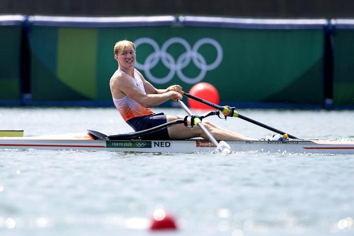 Finn Florijn in actie in de Skiff.