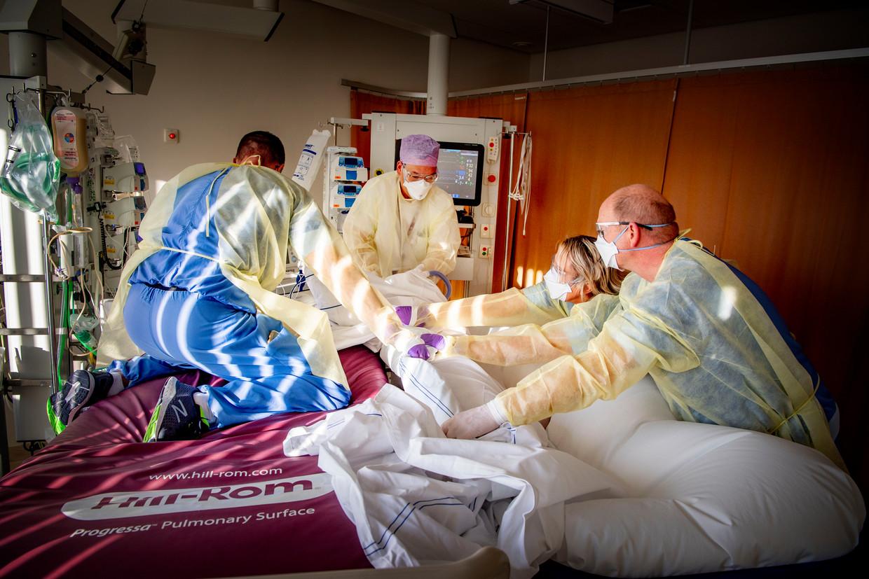 Alle hens aan dek: in het Albert Schweitzer Ziekenhuis in Dordrecht ontfermen op de ic vier mensen zich over een covidpatiënt. Beeld Robin Utrecht