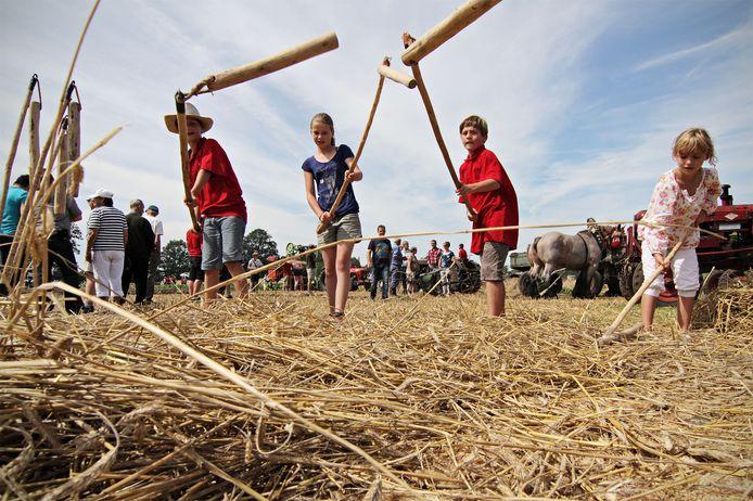 Kinderen meppen er op los met de minidorsvlegels tijdens de Auwerwetse Boekelse Oogstdag aan de Mutshoek.