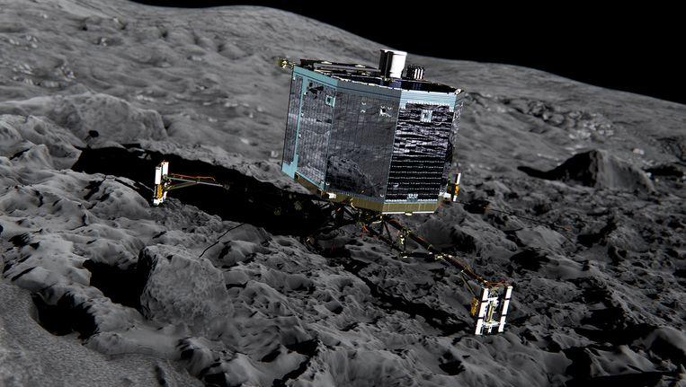 Impressie van Philae op komeet 67P. Het lijkt erop dat de komeetlander is verschoven of gekanteld in de afgelopen dagen. Beeld ap