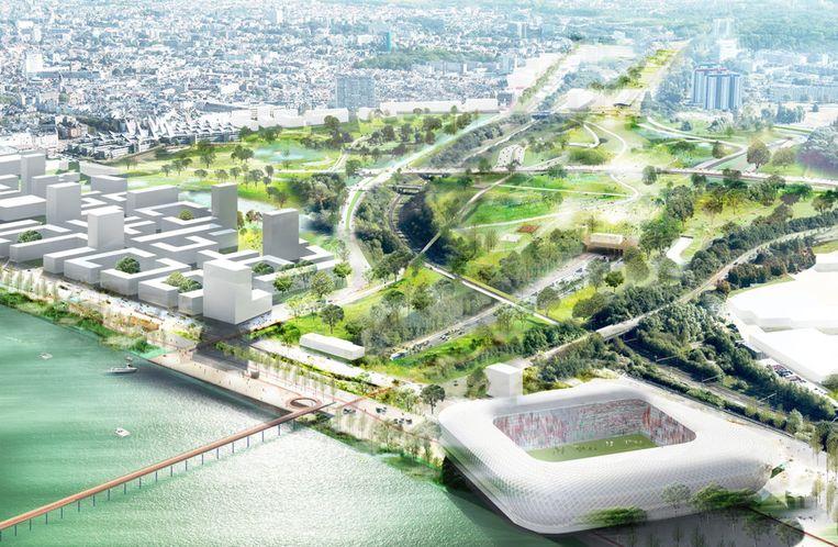 De omgeving in het zuiden van de stad met het nieuwe 'Scheldebalkon' en een eventueel toekomstig nieuw voetbalstadion. Beeld Overdering.be