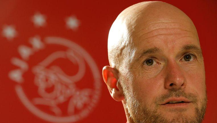 Ajax-trainer Erik ten Hag staat de pers te woord. De Amsterdamse club opent het eredivisie-seizoen tegen Heracles. Beeld anp