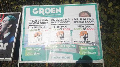 Affiches van Groen overplakt door Voorpost