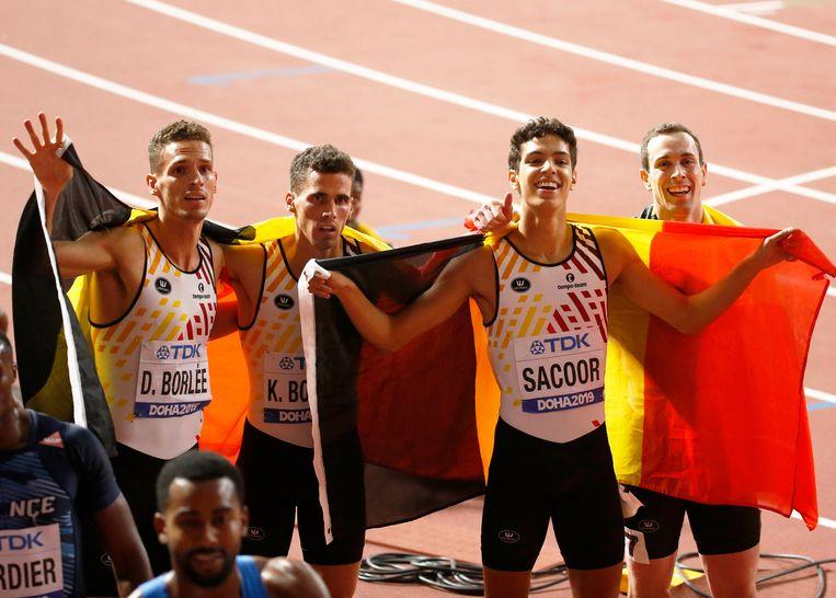 Jonathan Sacoor (tweede van rechts) met de andere teamgenoten van de Belgian Tornados pakten op het WK in Doha brons.