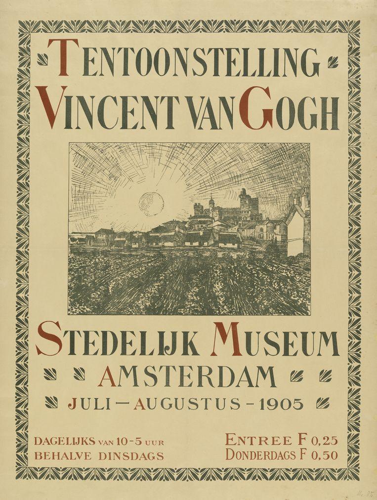 Affiche van de tentoonstelling 'Vincent van Gogh' in het Stedelijk Museum Amsterdam, georganiseerd door Bonger in de zomer van 1905. Beeld Van Gogh Museum