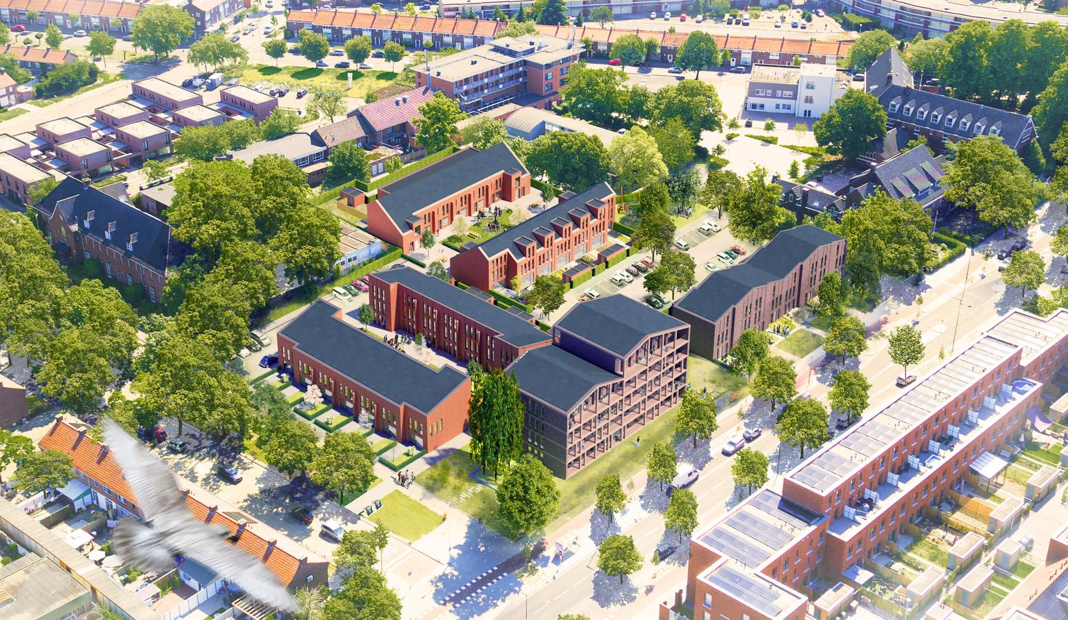 Het plan Tivoli Eindhoven, op de voormalige locatie van de Tivolikerk aan de Heezerweg. Op het middenterrein liggen de middeldure woningen van 't Schip (links aan de Rector Baptislaan) en De Gaard die Trudo gaat verhuren en verkopen.