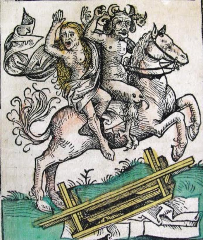 In verschillende Peellandse bekentenissen gaat het over reizen door de lucht naar heksenfeesten, te paard of op de schouders van de duivel. (uit de Kroniek van Neurenberg)