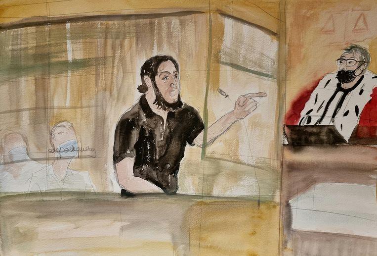 Een schets van Salah Abdeslam. Beeld via REUTERS