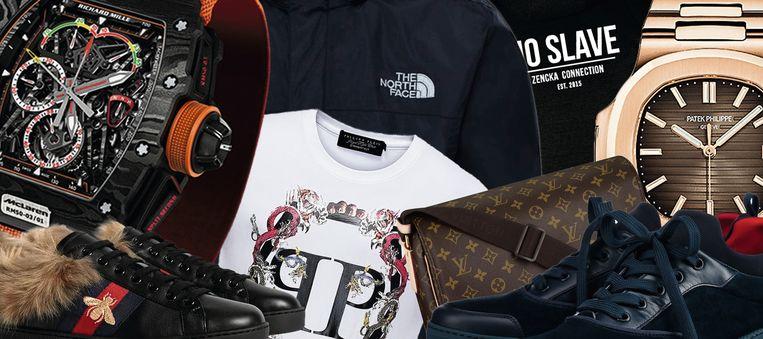 Toppers in de misdaadwereld: T-shirts van Philipp Plein, peperdure Patek Philippe- en Richard Mille-horloges en Louis Vuitton-schoudertasje voor telefoon, geld en soms een vuurwapen.  Beeld DM