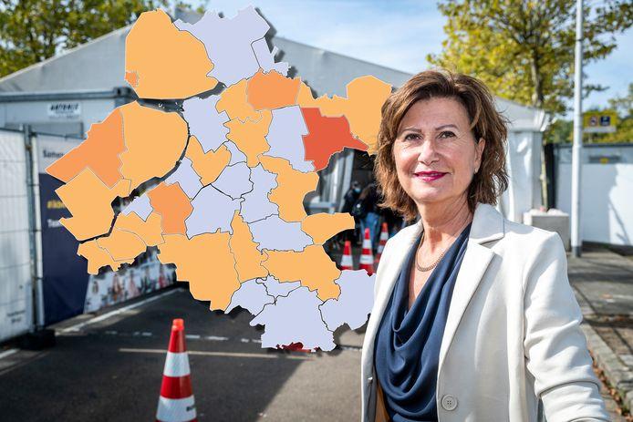 De coronakaart van Oost-Nederland kleurt wat donkerder dan gisteren: het aantal positieve testuitslagen stijgt met 15 procent.