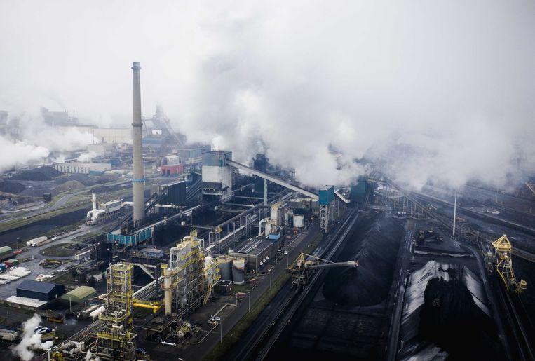 Dronefoto van staalfabrikant Tata Steel in IJmuiden. Beeld ANP