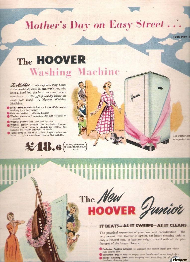 Een wasmachine of stofzuiger voor Moederdag? In deze oude advertentie zijn de moeders er dolblij mee. Beeld rv