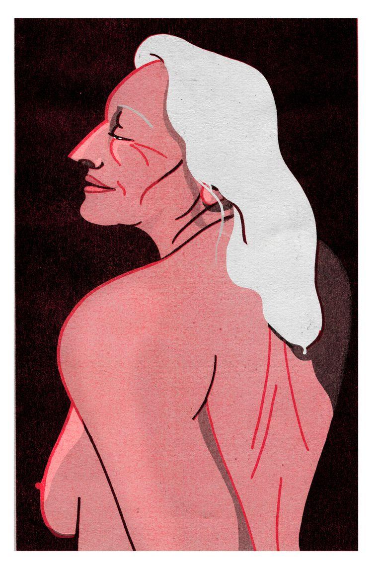 Illustratie bij het interview met Trudy (63), die via internet experimenteert met seks.   Beeld Elodie Lascar