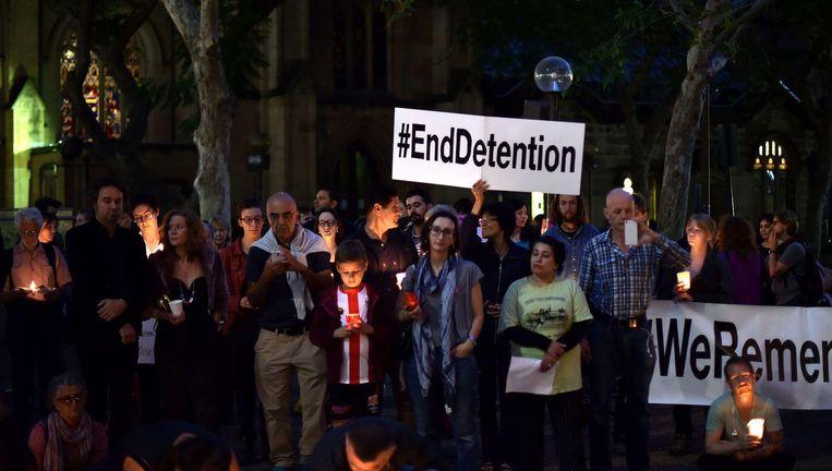 Protest in Sydney tegen het Australische vluchtelingenbeleid. Beeld afp