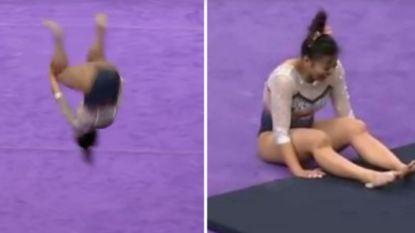 Gymnaste wil publiek inpalmen tijdens laatste oefening, maar al snel loopt het gruwelijk mis