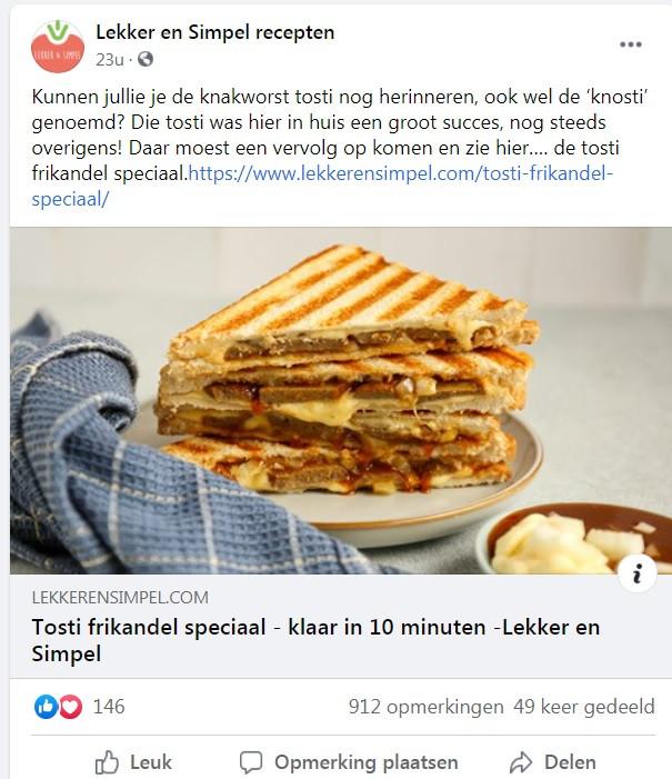 De post op Facebook van Lekker en Simpel.