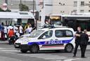 Er is veel politie ter plaatse in Villeurbanne