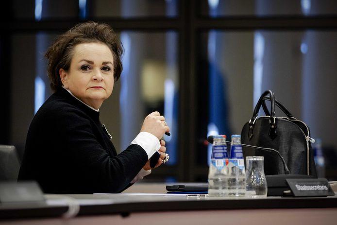 Demissionair staatssecretaris van Financiën Alexandra van Huffelen tijdens een overleg in de Tweede Kamer over de Belastingdienst.