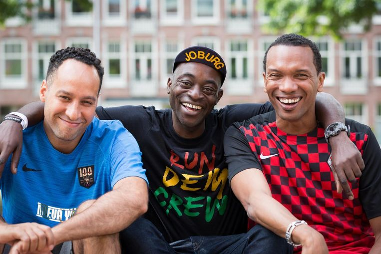 Mike Saes, Charlie Dark en Edson Sabajo (vlnr) Beeld Eelco Roos