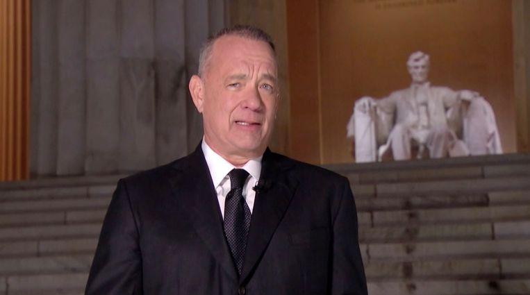 Tom Hanks tijdens de show.  Beeld AFP