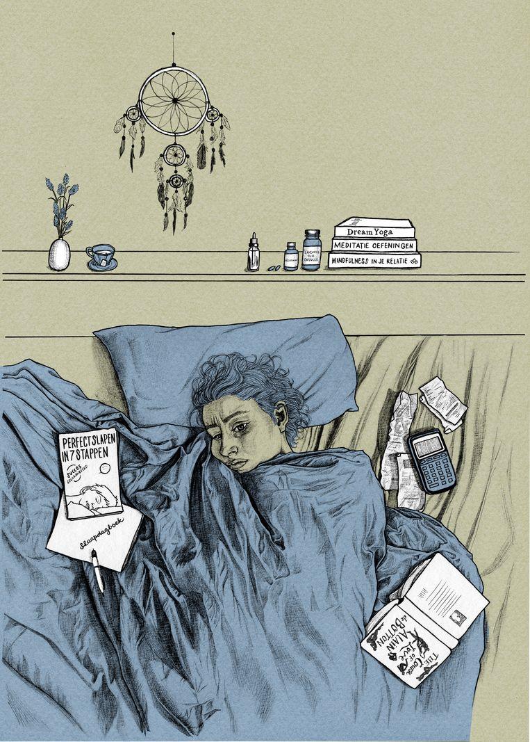 Bregje Hofstede (33) had tien jaar lang last van insomnia en schreef er een boek over. Beeld Ted Struwer