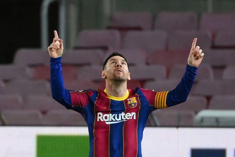Lionel Messi na een doelpunt tegen Athletic Bilbao op zondag 31 januari. Messi gaat juridische stappen ondernemen tegen vijf (voormalige) bestuursleden van Barcelona. Beeld AFP