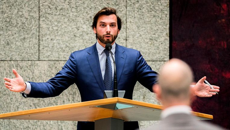 Thierry Baudet tijdens de Algemene Politieke Beschouwingen, waar hij de gewraakte uitspraak deed. Beeld ANP