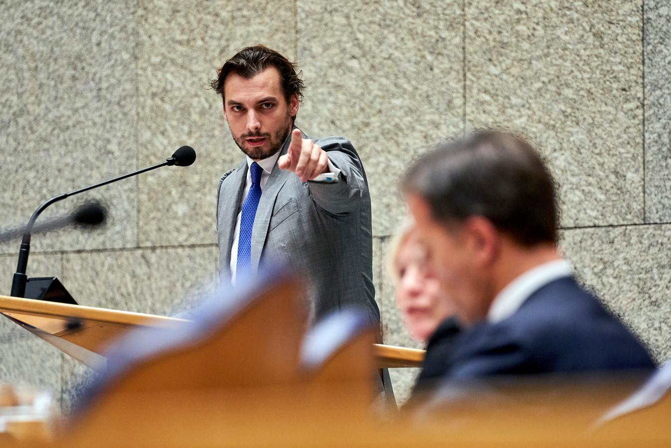 Thierry Baudet (FvD) tijdens het debat in de Tweede Kamer over de Turkse inval in Syrië.