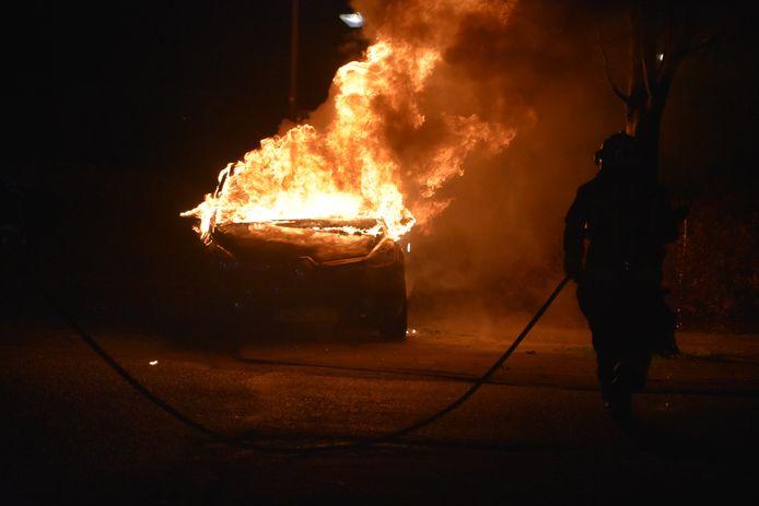 Autobrand aan de Rietkraag in Boskoop