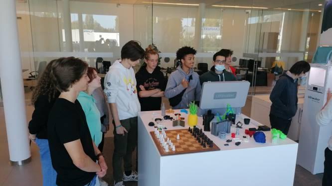 Leerlingen uit 5 aso van het Sint-Jozefinstituut dagen hun steentje bij om de haven in 3D in het klein te maken