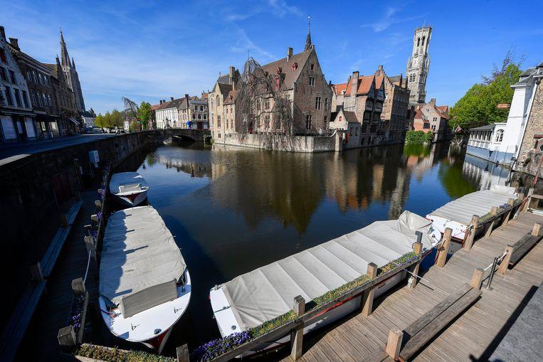Ook in Brugge blijven de toeristen weg sinds de lockdown. Beeld Photo News
