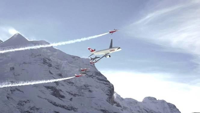 Sensationeel! Airbus scheurt met 6 stuntvliegtuigen door Alpen