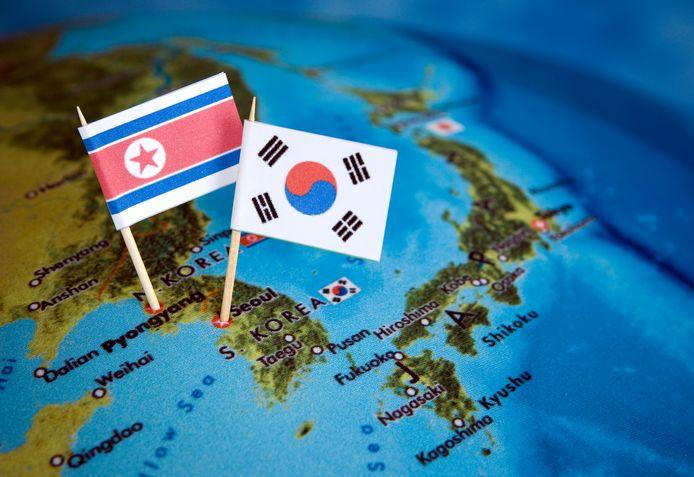 Landenvlaggen van Noord-Korea en Zuid-Korea.