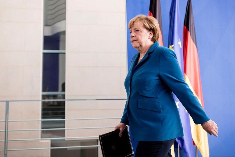 Bondskanselier Angela Merkel vindt het te vroeg om te speculeren over de gevolgen van haar vluchtelingenbeleid. Beeld photo_news