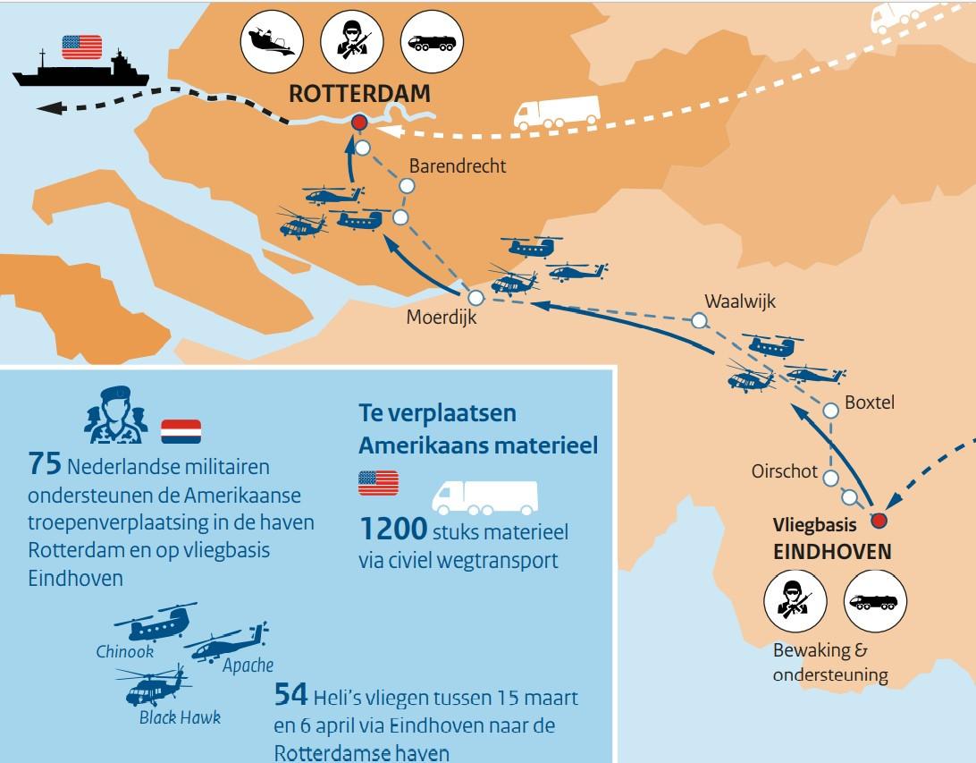 De route die de helikopters van de Amerikaanse helikopterbrigade aflegt boven Nederland, van Eindhoven naar de Rotterdamse haven.