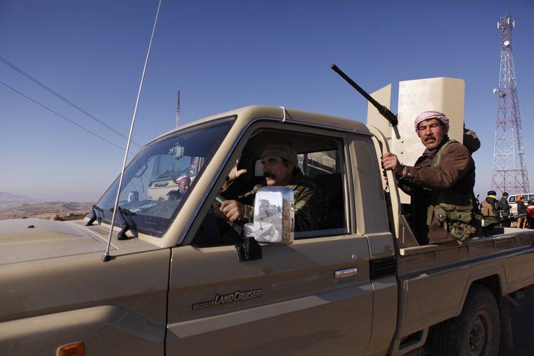 Koerdische strijders bij Sinjar. Beeld ap