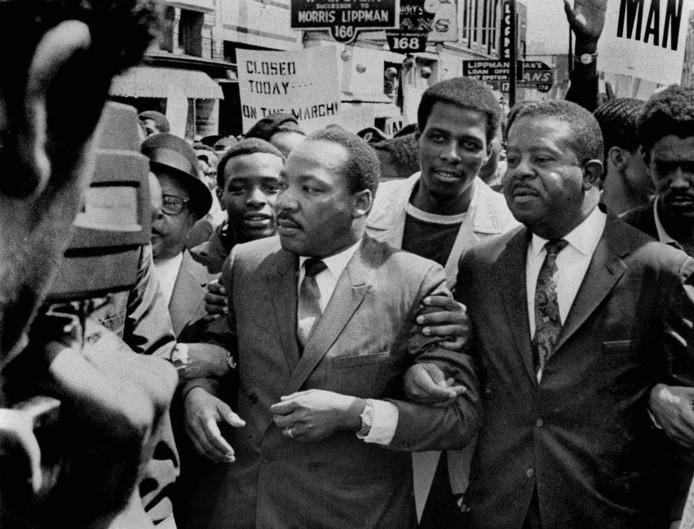 Het jaar waarin Dr. Martin Luther King werd vermoord, hier een opname die werd gemaakt in maart 1968, een maand doordat hij in Memphis werd vermoord.