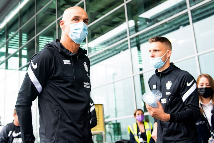Vitesse coach Thomas Letsch arriving at airport Weeze before the flight to Maribor